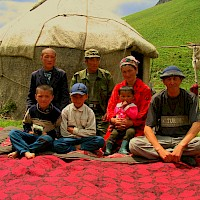 A local family high in the Tien Shan mountains of southern Kyrgyzstan