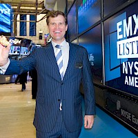 President, CEO & Director, David M. Cole displaying some EMXX gold on the floor of the NY Stock Exchange