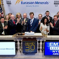 Eurasian Minerals staff ringing the closing bell on the New York Stock Exchange. From L to R: James Stinson-Commercial Director, Christiaan Vandenberg, George Lim-Director, Valerie Barlow-Corporate Secretary, John Casale (obscured)-NYSE, Dr. M. Stephen Enders-Chairman of the Board, Christina Cepeliauskas-CFO, Scott Close-Director of Investor Relations, David Cole-President, CEO & Director, Russell Keithline-Executive Administrator, Arlene Cole, Garrett Clemons-Manager, Project Marketing & Deal Flow, Paul Zink-President, Eurasian Capital, Dr. David Johnson- Chief Geologist, Michael Sheehan-Geologist & Manager of Technical Services