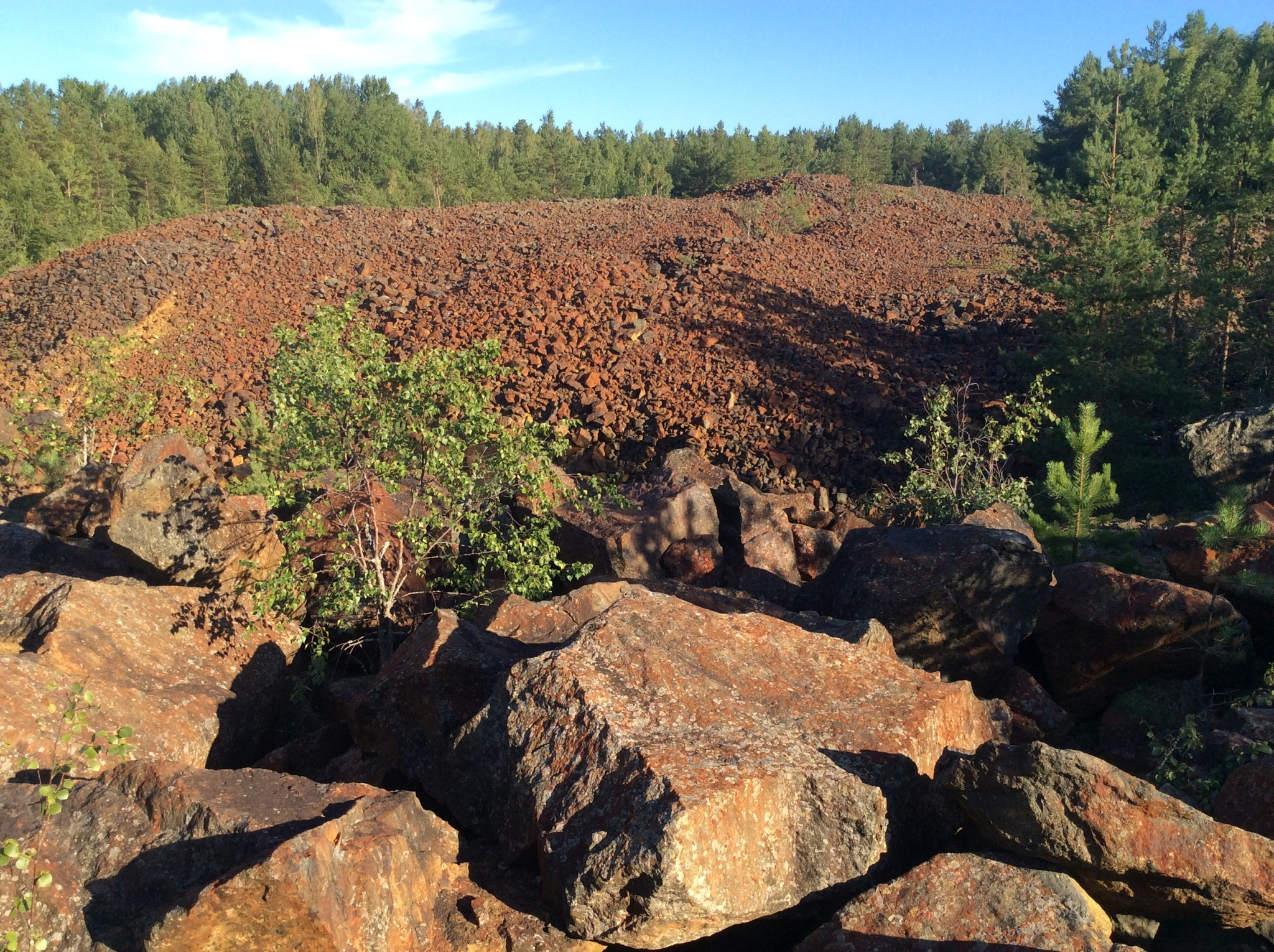 Extensive dumps and mine workings on the property